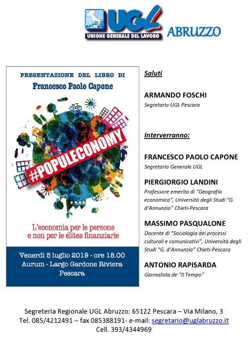 Globalizzazione e populismi secondo Capone: presentazione a Pescara