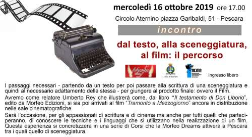 Come nasce un film? Vademecum in scena a Pescara
