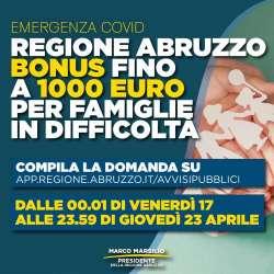 BONUS fino a mille euro per le famiglie abruzzesi