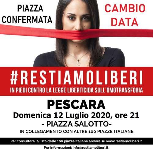 #restiamoliberi, no al decreto Zan su l'omotransfobia: domani anche in piazza a Pescara