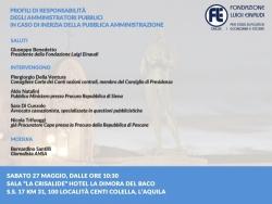La Fondazione Luigi Einaudi organizza un convegno nel capoluogo d'Abruzzo