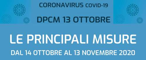 Nuovo DPCM. Le disposizioni si applicano da domani 14 ottobre