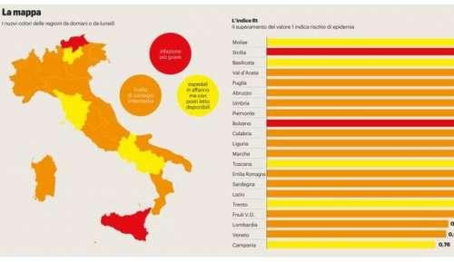 Scende l'indice di trasmissibilità ma l'Abruzzo rimane arancione