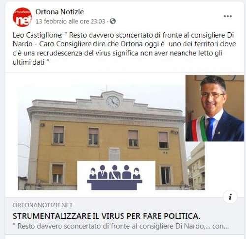"""Di Nardo: """"Zona rossa e scuole chiuse, il risultato del 'no' del sindaco Castiglione"""""""