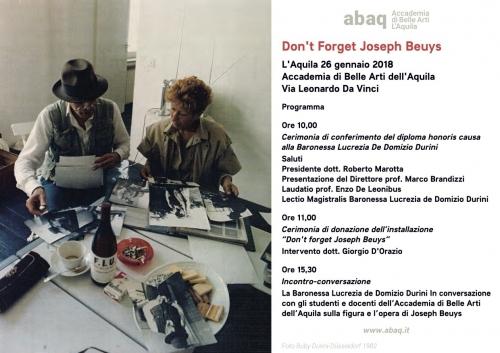 L'Aquila. La Baronessa De Domizio dona all'Accademia di Belle Arti una Mostra permanente di Beuys