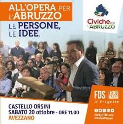 Civiche per l'Abruzzo, incontro ad Avezzano il 20 ottobre