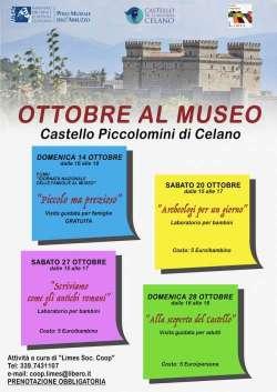"""Celano, Castello Piccolomini: ecco gli appuntamenti dell'evento """"Ottobre al Museo"""""""