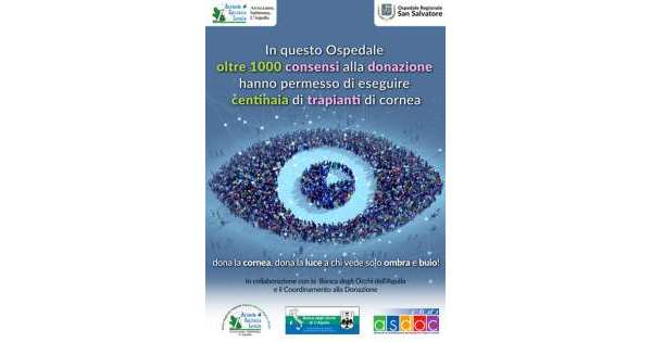 Donazione cornea,una campagna all'Aquila